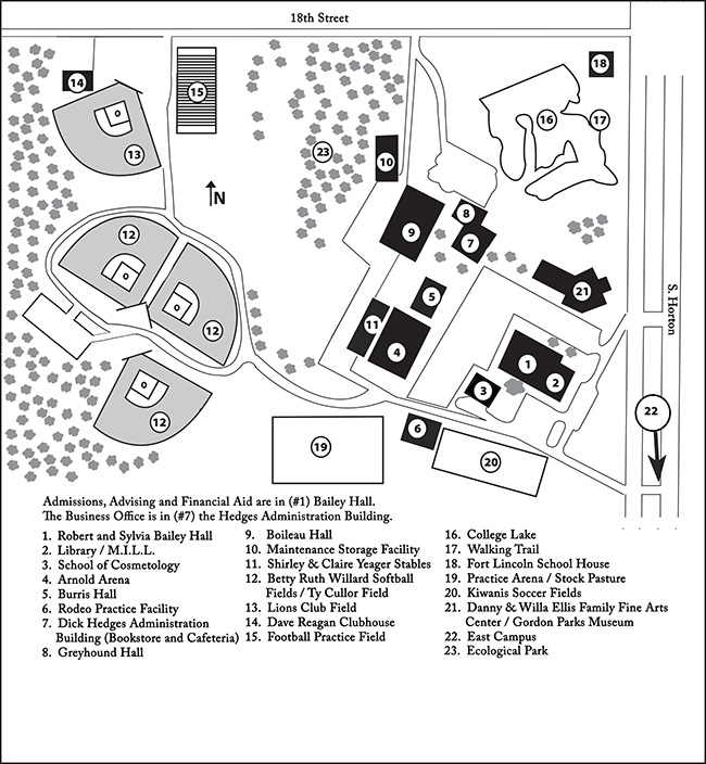 A map of FSCC's main campus.