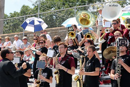 FSCC's band playing their music while in the stands.
