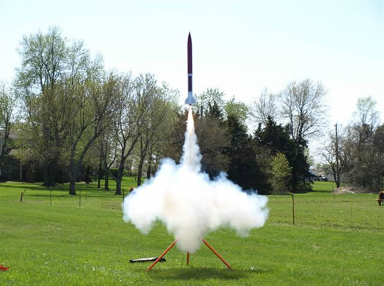 A rocket as it launches from it's stand.